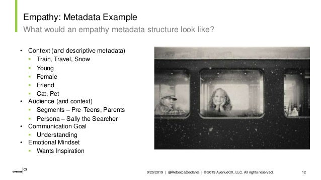 9/25/2019   @RebeccaDeclares   © 2019 AvenueCX, LLC. All rights reserved. 12 Empathy: Metadata Example What would an empat...