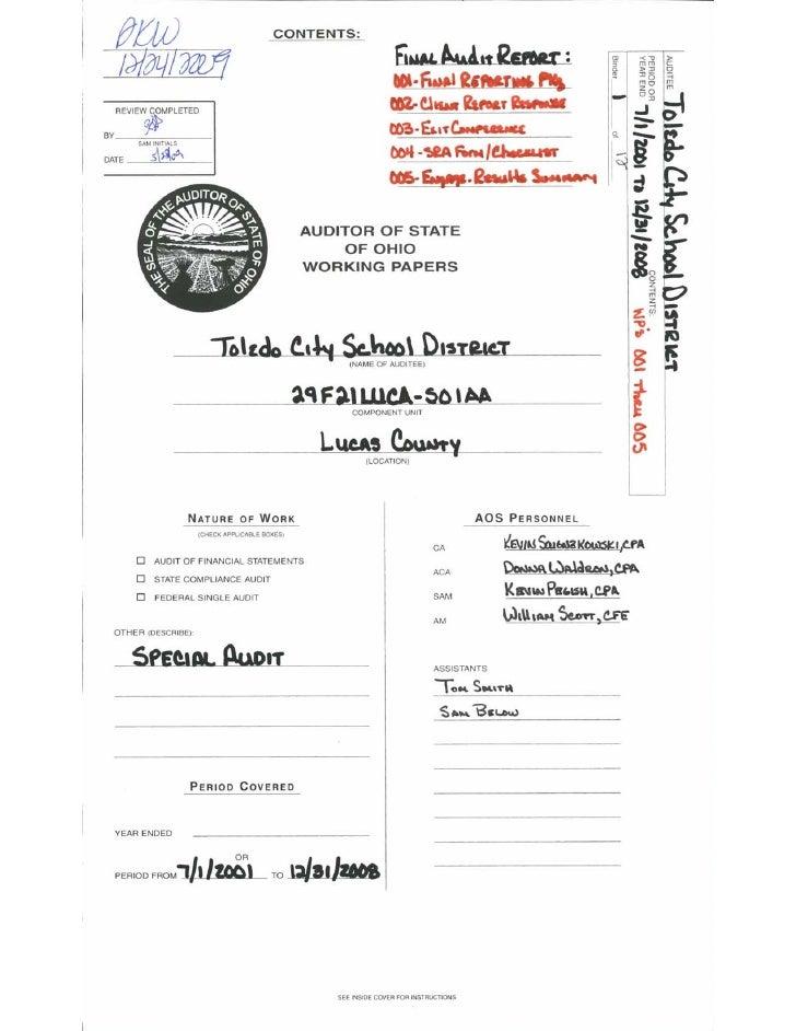 Part 1: State of Ohio Auditor Report on the Dan Burns investigation at the Toledo Public Schools