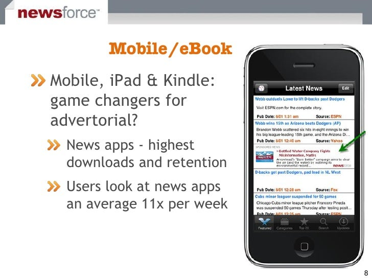 Mobile, iPad & Kindle: game changers for advertorial?   News apps - highest   downloads and retention   Users look at news...