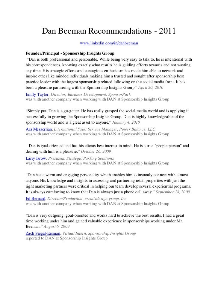 Dan Beeman Linkedin Recommendations 2011
