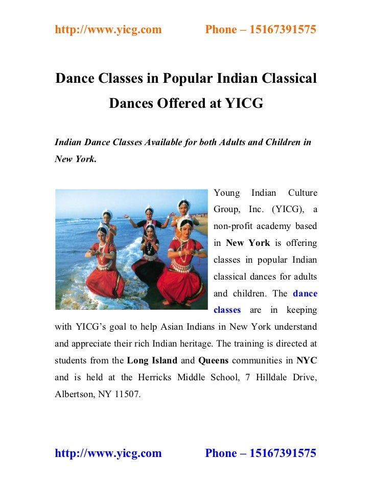 http://www.yicg.com                     Phone – 15167391575Dance Classes in Popular Indian Classical              Dances O...