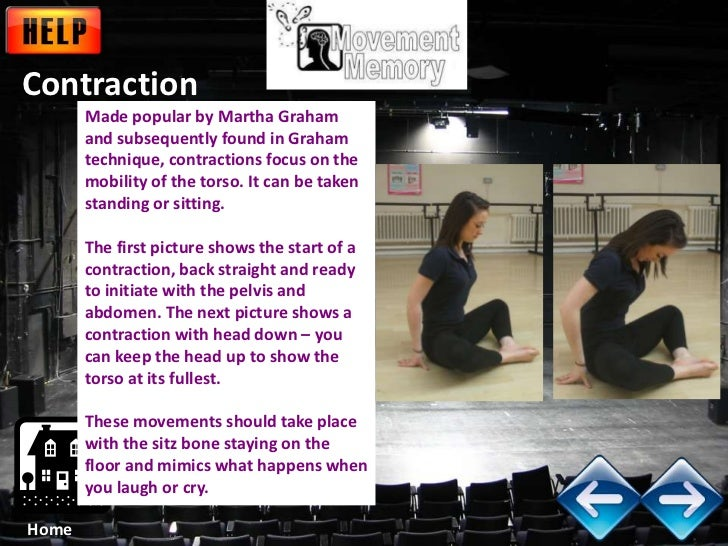 Contraction       Made popular by Martha Graham       and subsequently found in Graham       technique, contractions focus...