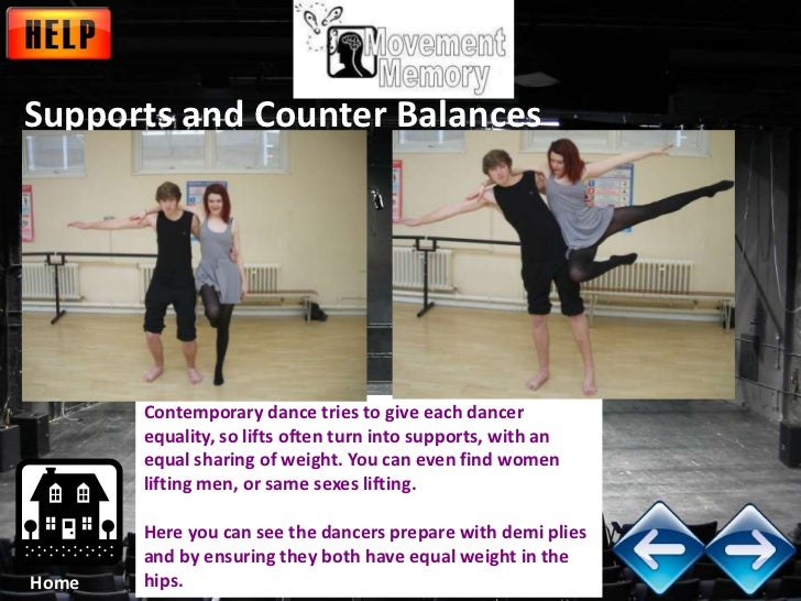 Supports and Counter Balances       Contemporary dance tries to give each dancer       equality, so lifts often turn into ...