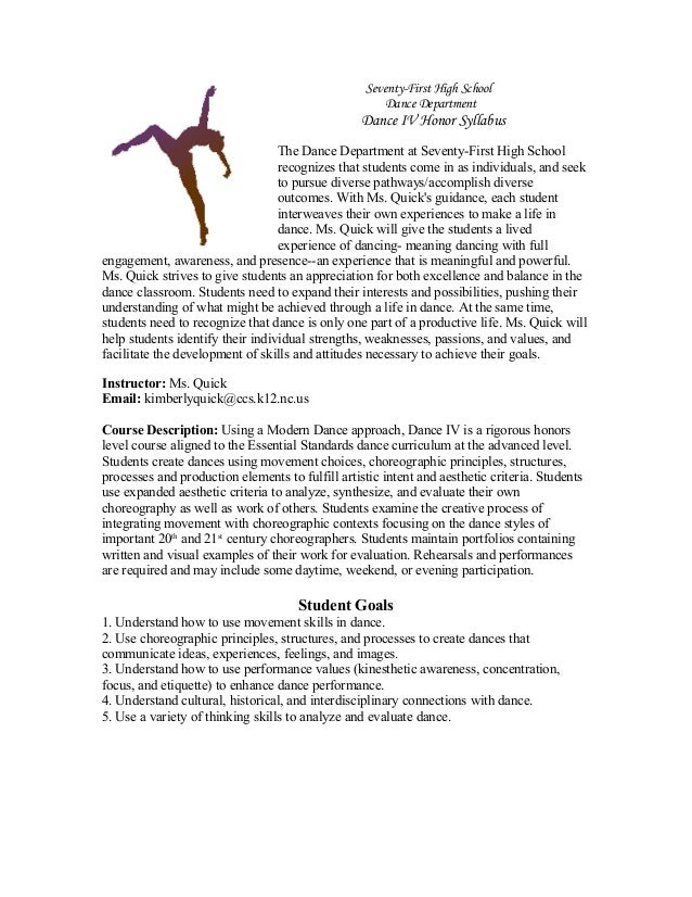 Seventy-First High School Dance Department Dance IV Honor Syllabus The Dance Department at Seventy-First High School recog...