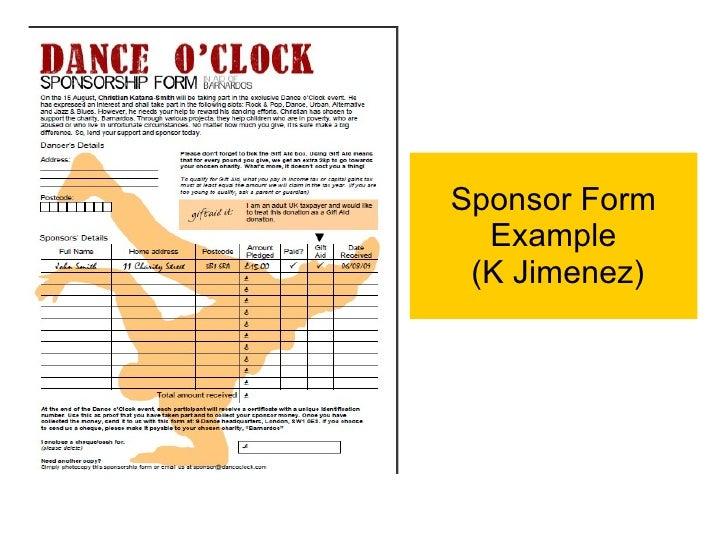 Dance O Clock Examples – Sample Sponsor Form
