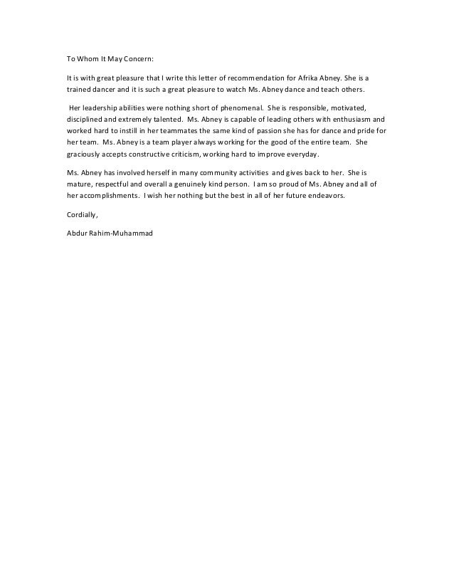 letter of recommendation for dance student