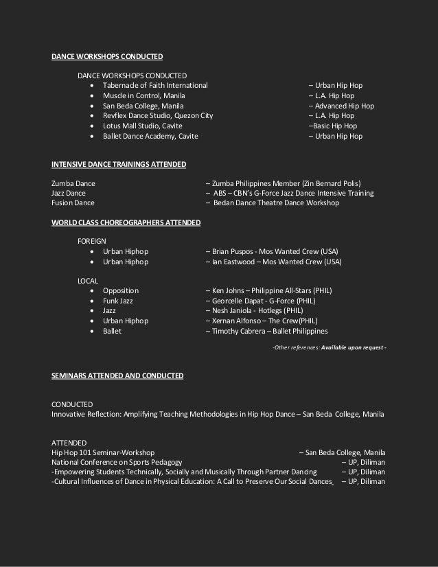 resume for dance  detailed format sample
