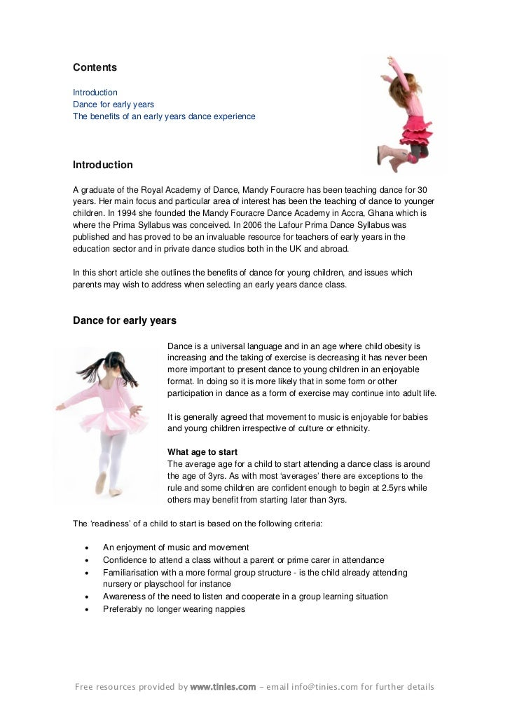 Benefits of Dance for young children