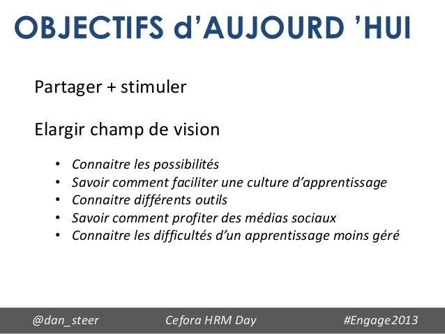 OBJECTIFS d'AUJOURD 'HUI Partager + stimuler Elargir champ de vision    •   Connaitre les possibilités    •   Savoir comme...