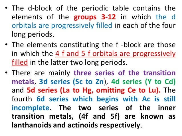 4f and 5f block elements Get acquainted with the concepts of d and f block elements with the help of  study  the differentiating electron in transition elements may enter either 4f or 5f .