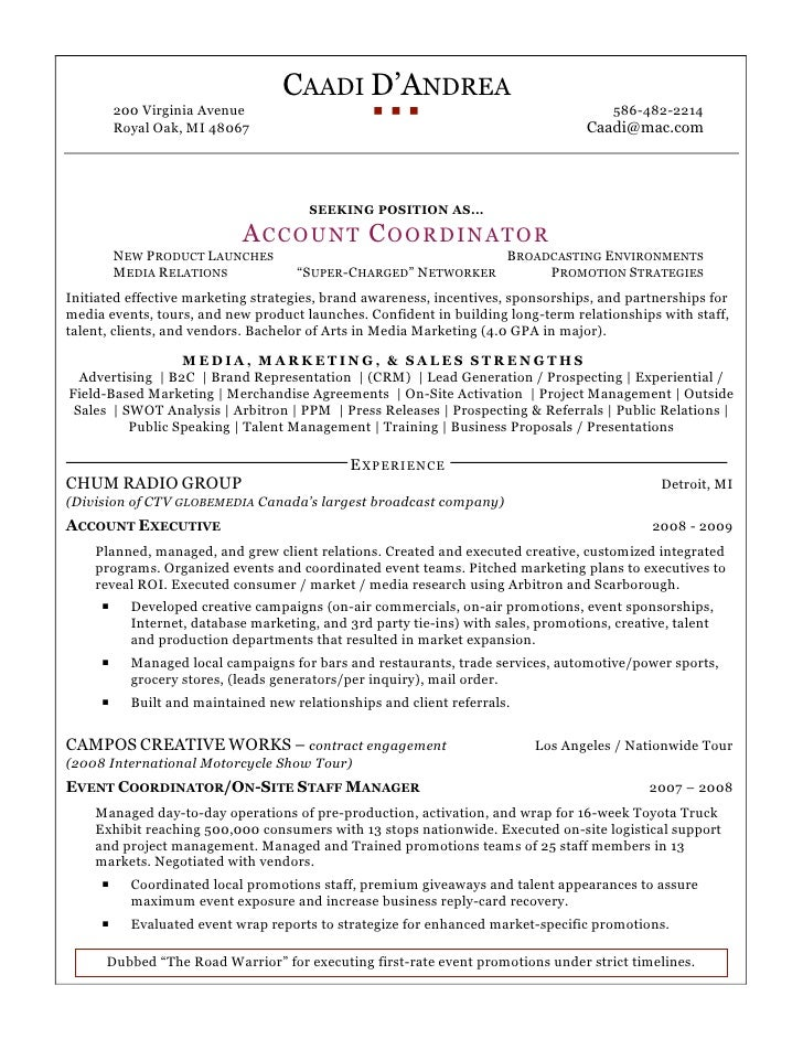 DAndrea Account Coordinator Resume. CAADI D'ANDREA 200 Virginia Avenue ...