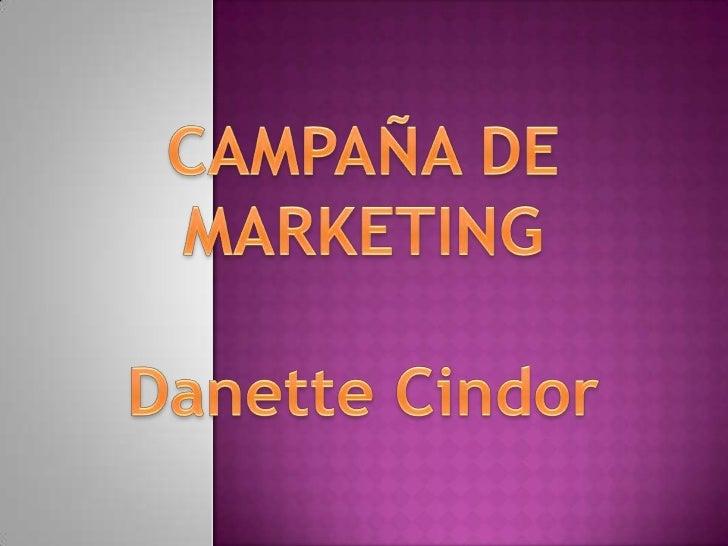 CAMPAÑA DE MARKETING<br />Danette Cindor<br />