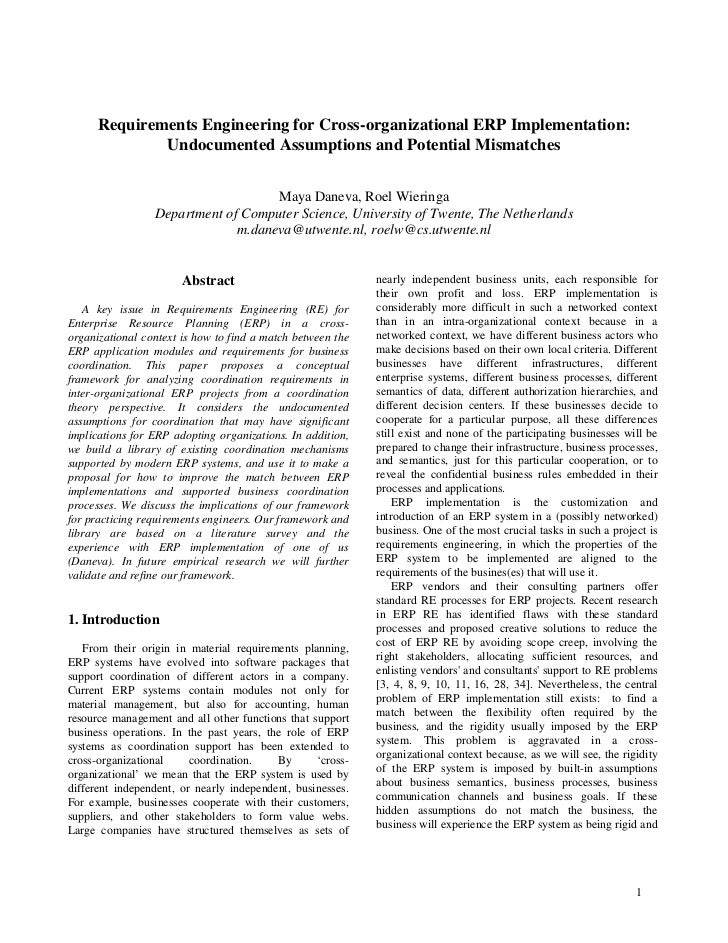 Requirements Engineering for Cross-organizational ERP Implementation:              Undocumented Assumptions and Potential ...
