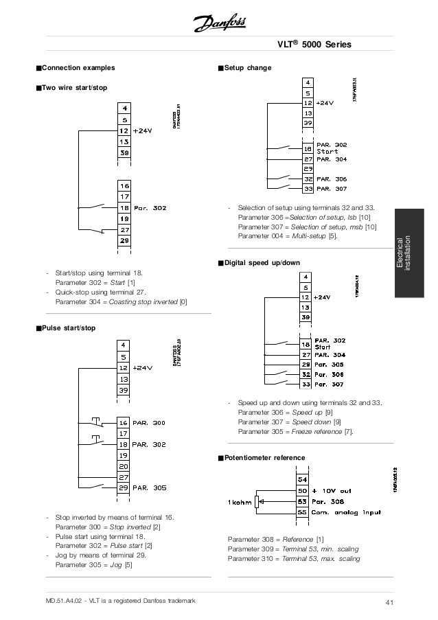 danfoss-vlt5000-41-638  Wire Start Stop Diagram on float wiring, push button, motor control wiring, relay wiring, auto wiring, switch light, speed wiring, push button station,