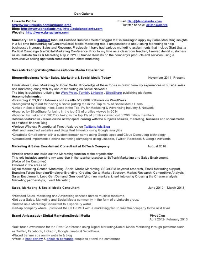 social media marketer resume