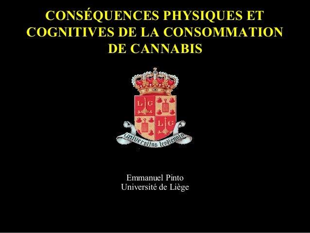 CONSÉQUENCES PHYSIQUES ET COGNITIVES DE LA CONSOMMATION DE CANNABIS Emmanuel Pinto Université de Liège