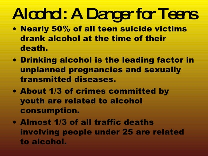 the dangers of alcoholism Get the facts on teenage drinking and learn the causes, risk factors, symptoms and signs of intoxication, treatment, dangers (alcohol poisoning, alcoholism), and effects.