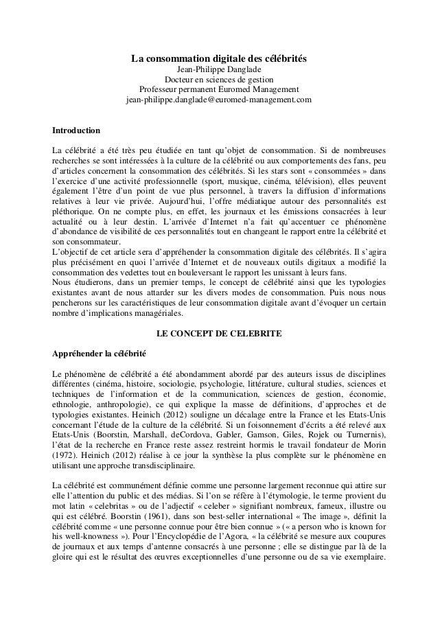 La consommation digitale des célébrités                                   Jean-Philippe Danglade                          ...