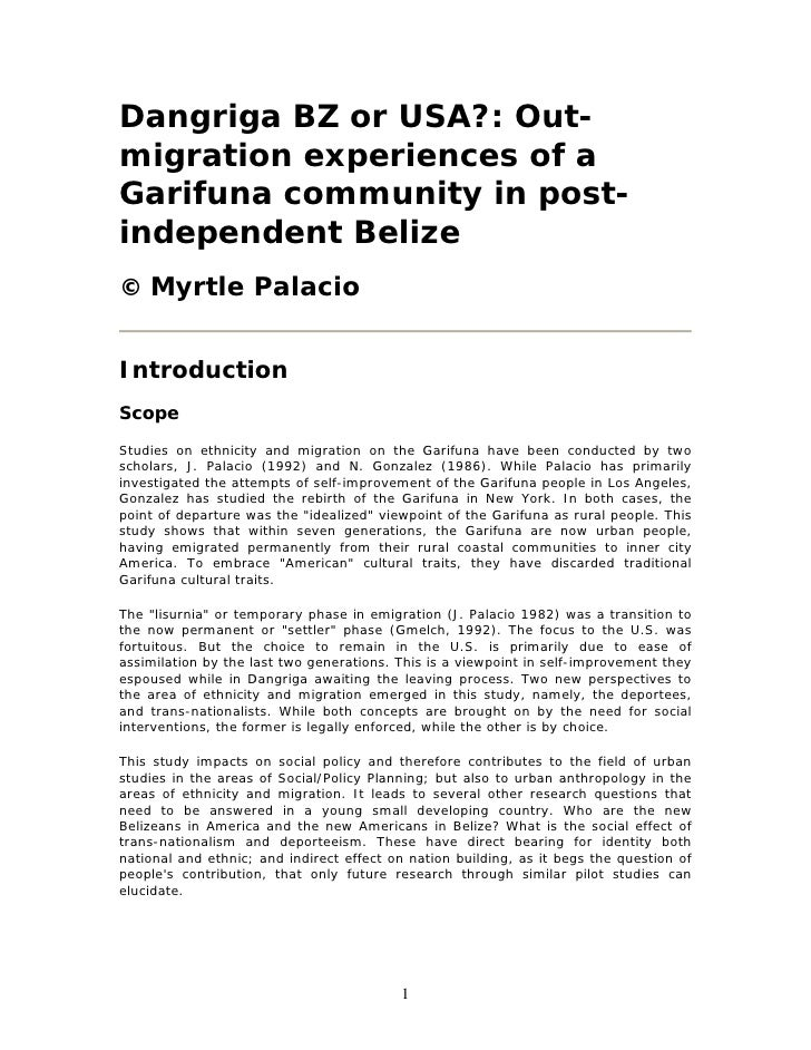 Dangriga BZ or USA?: Out-migration experiences of aGarifuna community in post-independent Belize© Myrtle PalacioIntroducti...