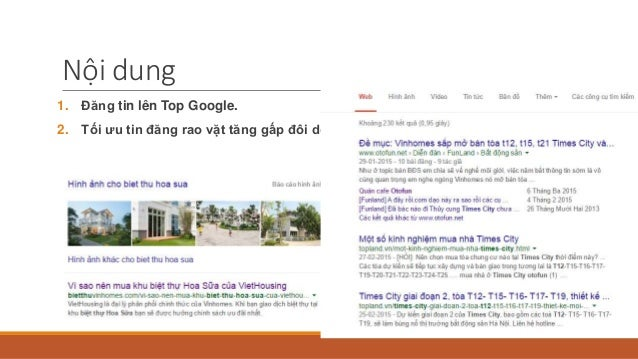 Nội dung 1. Đăng tin lên Top Google. 2. Tối ưu tin đăng rao vặt tăng gấp đôi doanh số.
