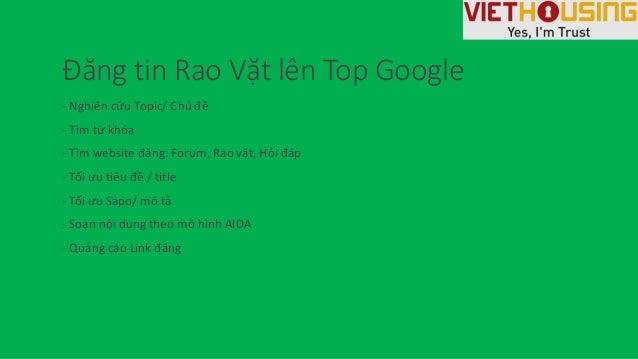 Đăng tin Rao Vặt lên Top Google - Nghiên cứu Topic/ Chủ đề - Tìm từ khóa - Tìm website đăng: Forum, Rao vặt, Hỏi đáp - Tối...