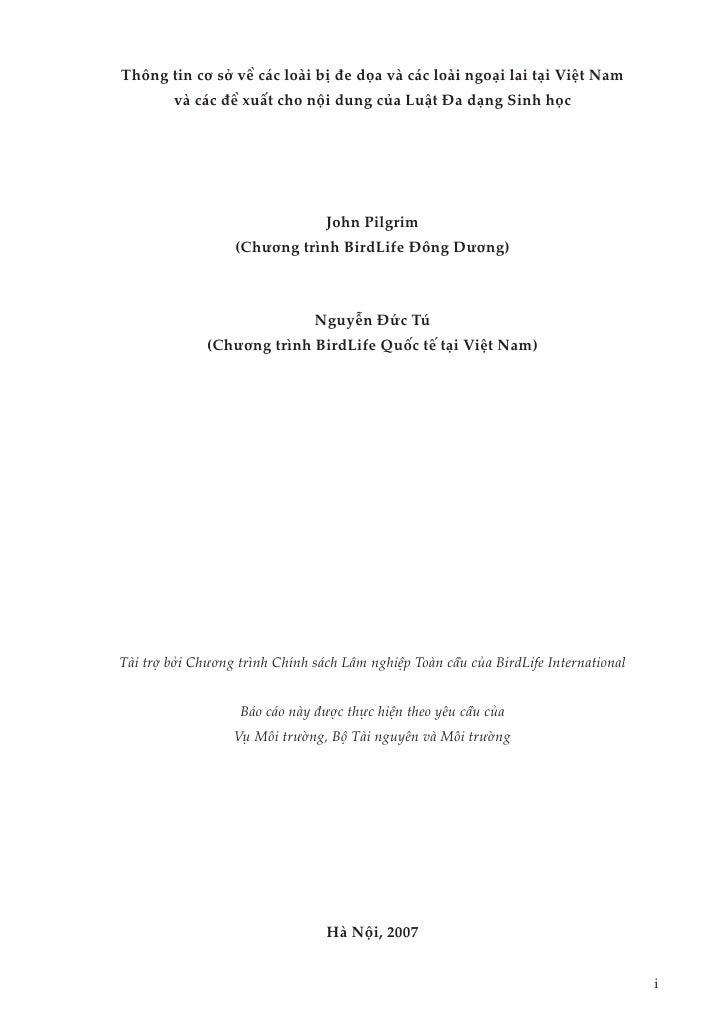 Thông tin cơ sở về các loài bị đe dọa và các loài ngoại lai tại Việt Nam         và các đề xuất cho nội dung của Luật Đa d...