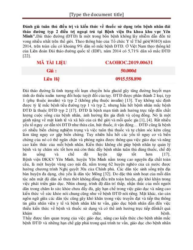 [Type the document title] Đánh giá tuân thủ điều trị và kiến thức về thuốc sử dụng trên bệnh nhân đái tháo đường typ 2 điề...