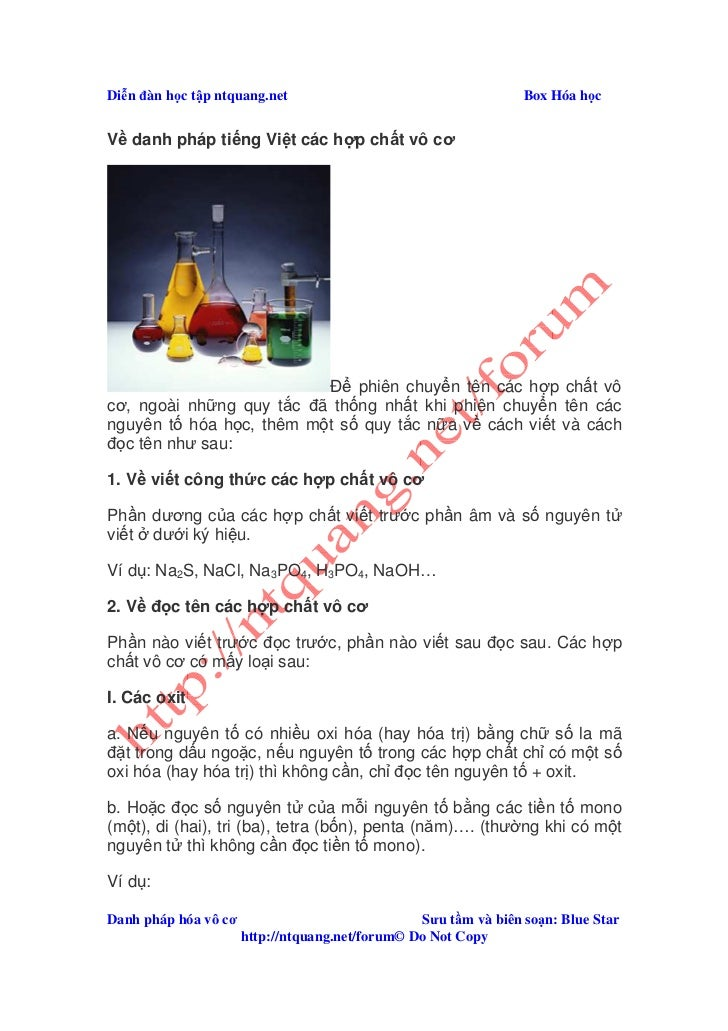 Di n ñàn h c t p ntquang.net                                     Box Hóa h cV danh pháp ti ng Vi t các h p ch t vô cơ     ...