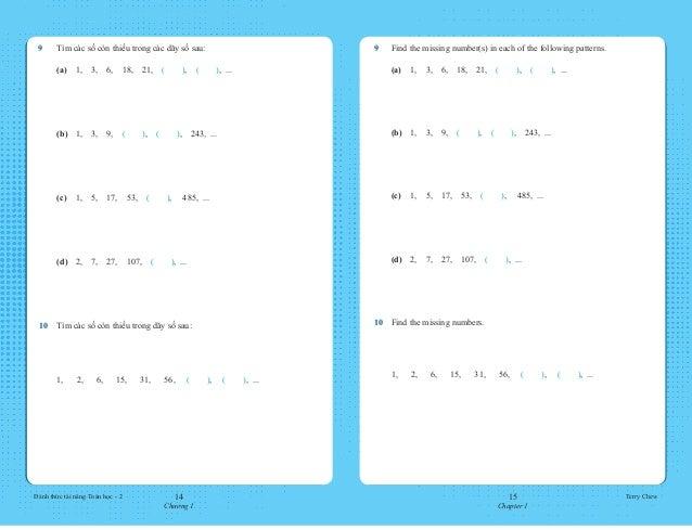 14 Chương 1 15 Chapter 1 Đánh thức tài năng Toán học - 2 Terry Chew 9 Find the missing number(s) in each of the following...