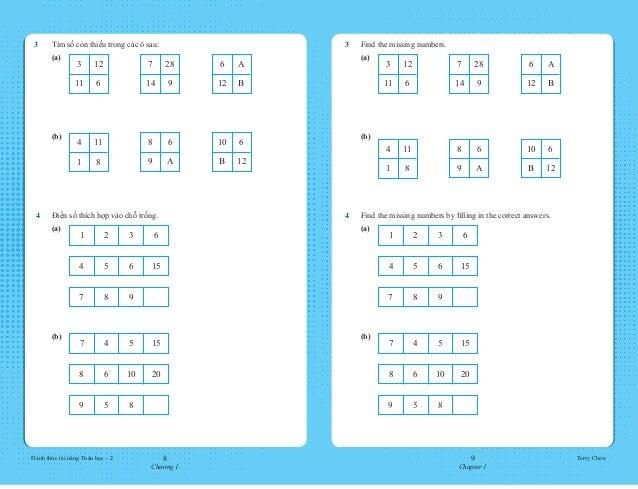 8 Chương 1 9 Chapter 1 Đánh thức tài năng Toán học - 2 Terry Chew 3 Find the missing numbers.  (a) 3 12 11 6 7 28 14 9 ...