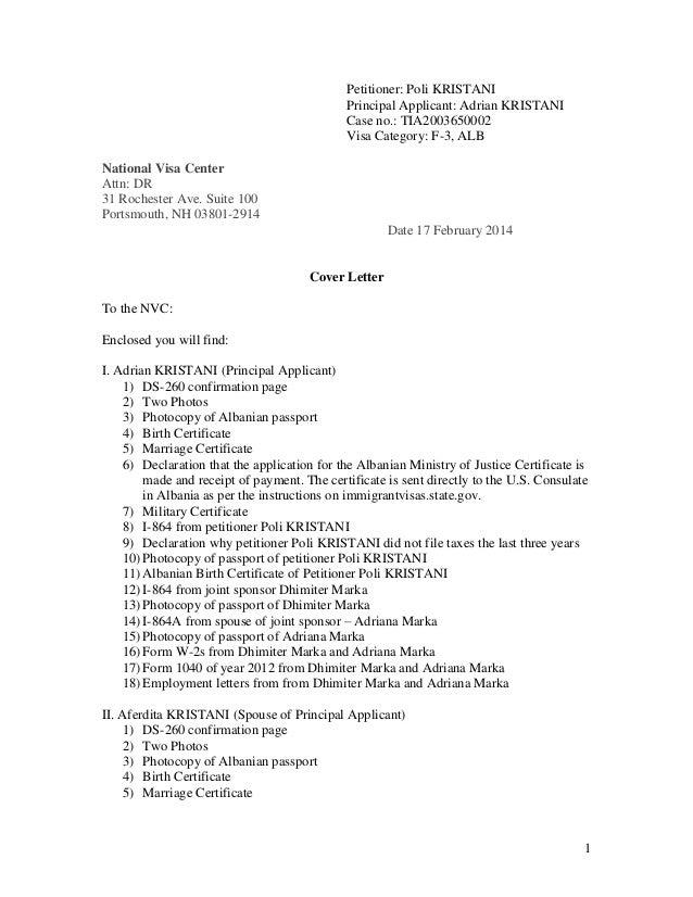 I 864 Cover Letter | Resume CV Cover Letter