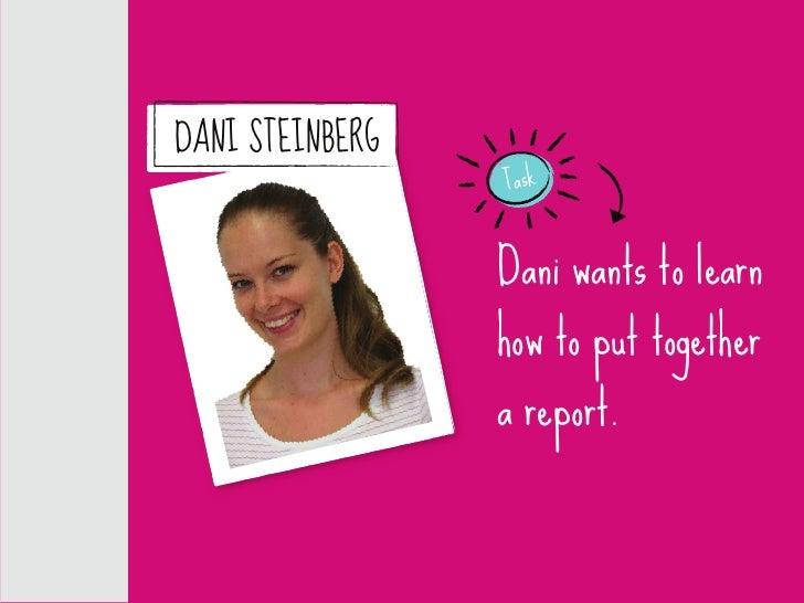 DANI STEINBERG                  Task                     Dani wants to learn                  how to put together         ...