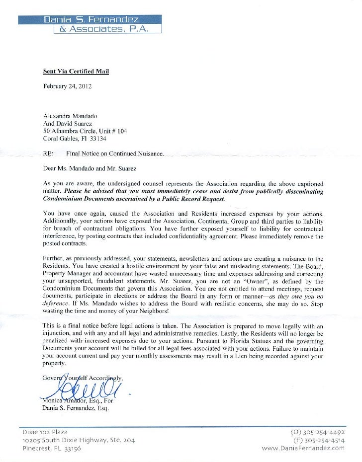 Dania Fernandez Cease And Desist Letter 2 2012  Cease And Desist Sample Letter