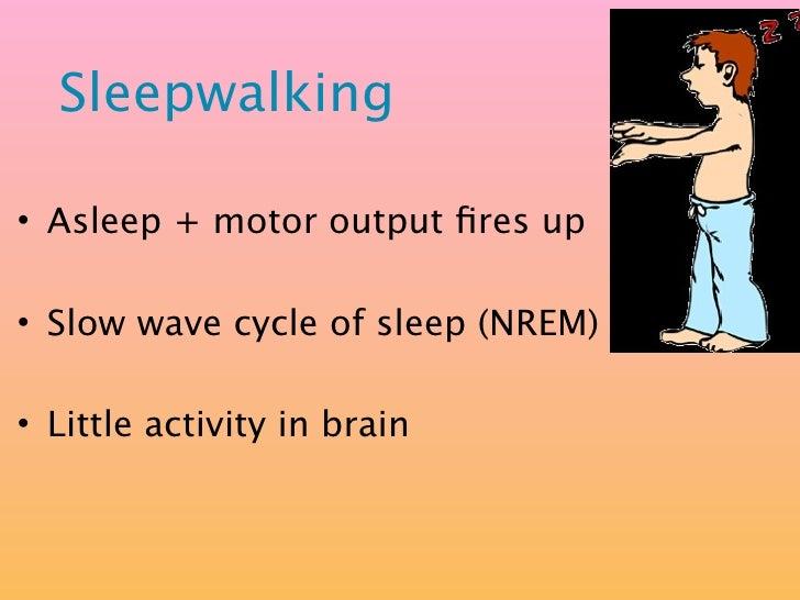 Sleepwalking  • Asleep + motor output fires up  • Slow wave cycle of sleep (NREM)  • Little activity in brain