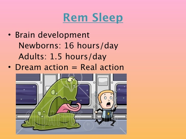 Rem Sleep • Brain development    Newborns: 16 hours/day    Adults: 1.5 hours/day • Dream action = Real action