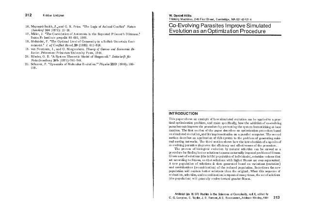 Daniel hillis 1991: co-evolving parasites sfi artificial life ii