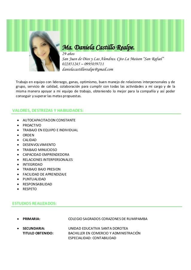 Ma. Daniela Castillo Realpe hoja de vida