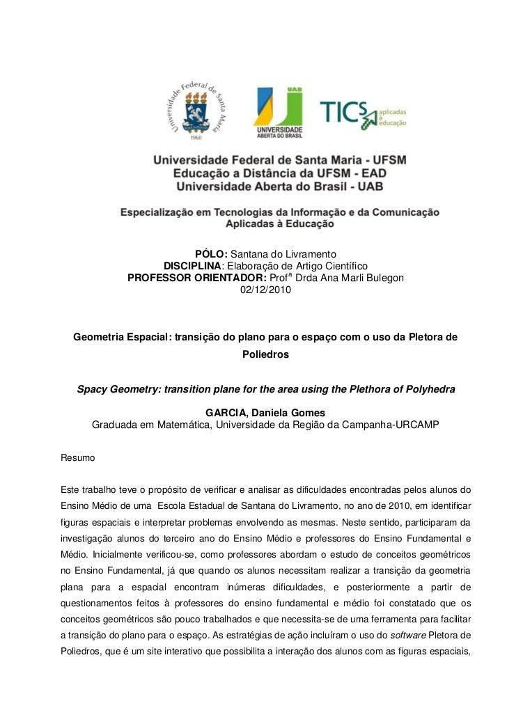 PÓLO: Santana do Livramento                     DISCIPLINA: Elaboração de Artigo Científico                PROFESSOR ORIEN...