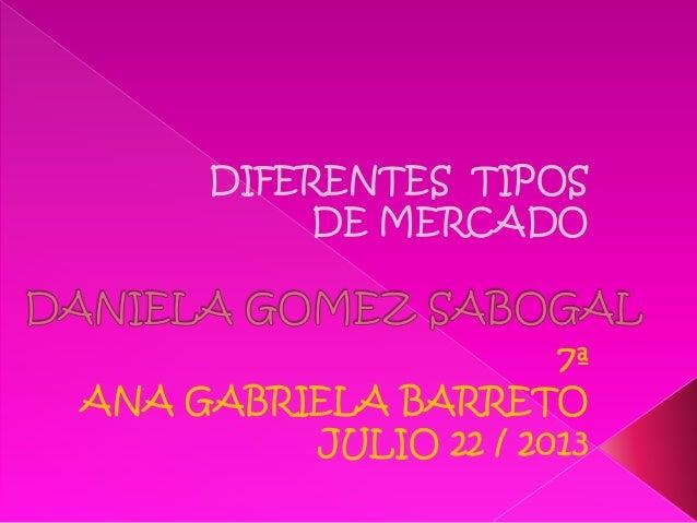 7ª ANA GABRIELA BARRETO JULIO 22 / 2013 DIFERENTES TIPOS DE MERCADO