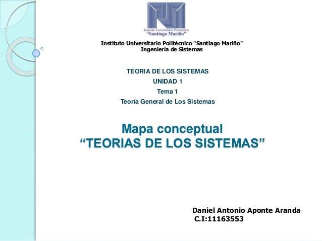 """Mapa conceptual """"TEORIAS DE LOS SISTEMAS"""" TEORIA DE LOS SISTEMAS UNIDAD 1 Tema 1 Teoría General de Los Sistemas Instituto ..."""