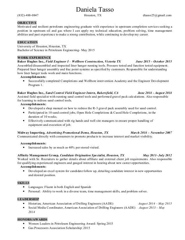 Fantastic Petroleum Engineering Resume Houston Composition ...