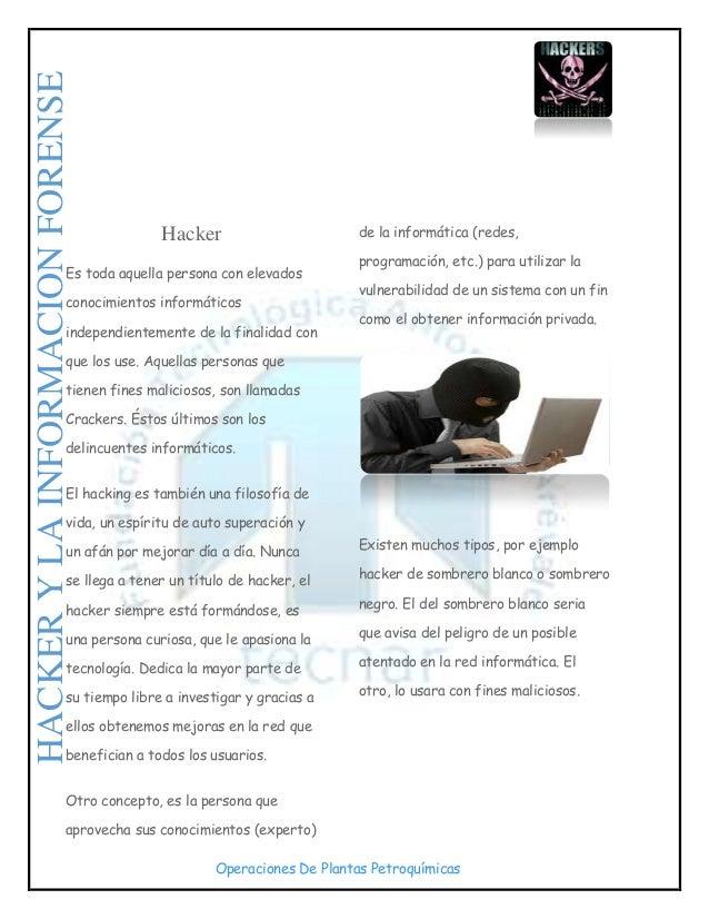Operaciones De Plantas Petroquímicas Hacker Es toda aquella persona con elevados conocimientos informáticos independientem...
