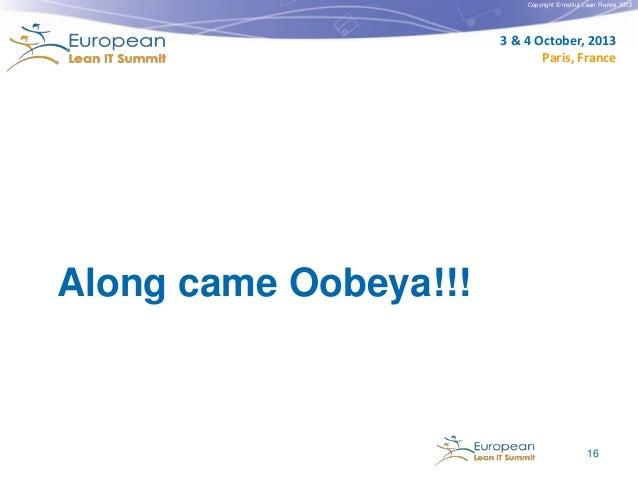 Copyright © Institut Lean France 2012  3 & 4 October, 2013 Paris, France  Along came Oobeya!!!  16