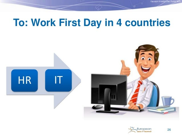 Copyright © Institut Lean France 2012  To: Work First Day in 4 countries  HR  IT  26