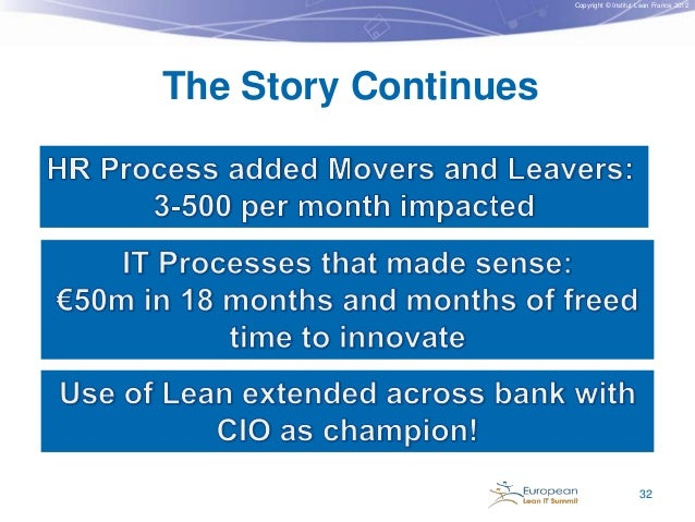 Copyright © Institut Lean France 2012  The Story Continues  32