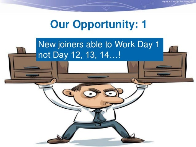 Copyright © Institut Lean France 2012  Our Opportunity: 1 New joiners able to Work Day 1 not Day 12, 13, 14…! missing? Wha...