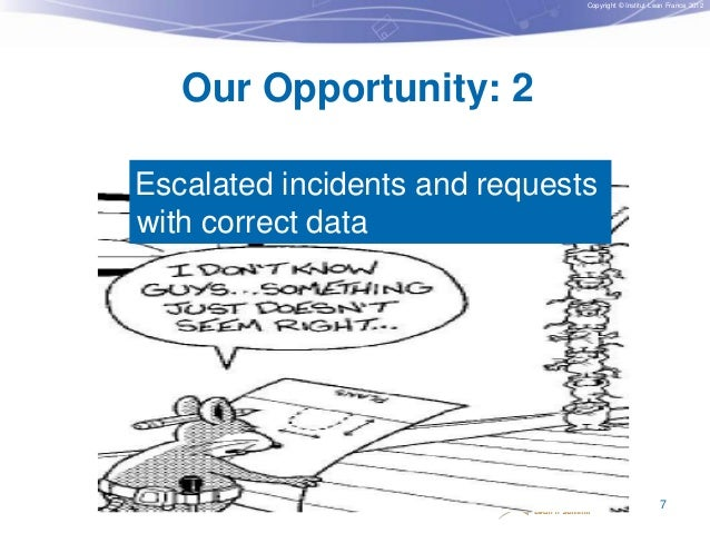 Copyright © Institut Lean France 2012  Our Opportunity: 2 Escalated incidents and requests with correct data  7