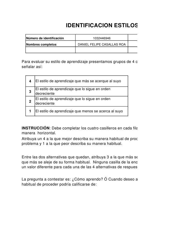 IDENTIFICACION ESTILOS DE APRENDI    Número de identificación                 1032446946           Programa de formación  ...
