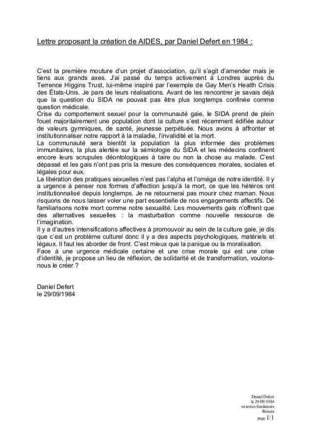 Lettre proposant la création de AIDES, par Daniel Defert en 1984 : C'est la première mouture d'un projet d'association, qu...