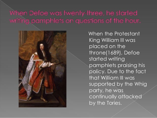 Defoe wrote a pamphlet in defence of the Dissenters, in which he attacked the Tories and the established Church. The autho...